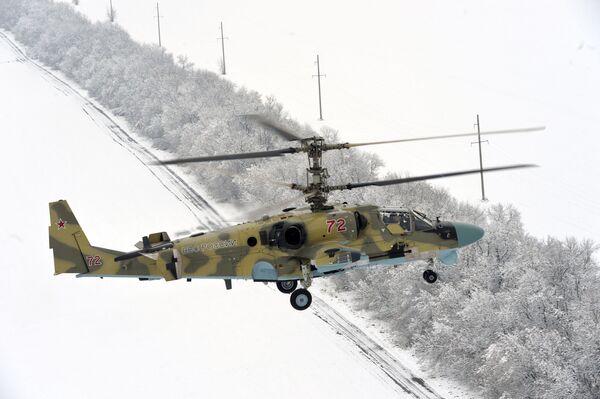 Nové bitevní vrtulníky Ka-52 vrtulníkového pluku Jižního vojenského okruhu - Sputnik Česká republika