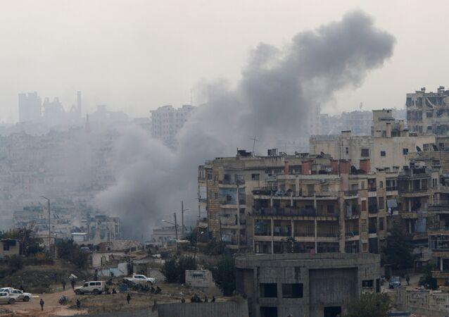 Ostřelování Aleppa ozbojenci, prosinec 2016.