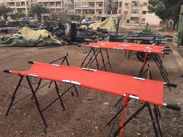 Spáleniště na místě ruské nemocnice v Aleppu - Sputnik Česká republika