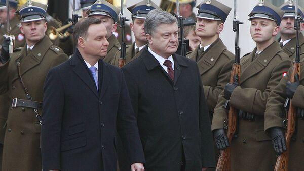 Polský prezident Andrzej Duda a ukrajinský prezident Petro Porošenko - Sputnik Česká republika