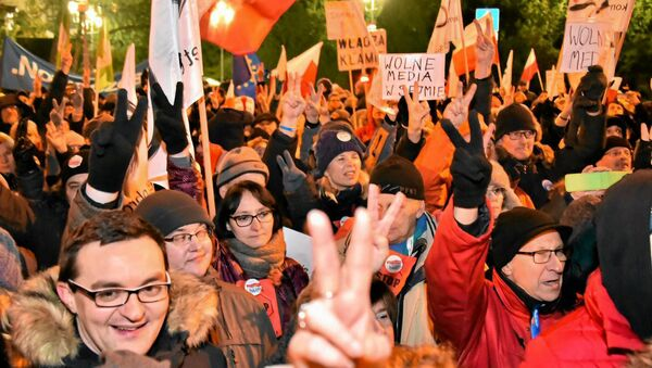 Demonstrace u budovy Sejmu - Sputnik Česká republika