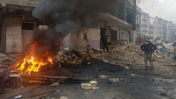 Požár v Aleppu - Sputnik Česká republika