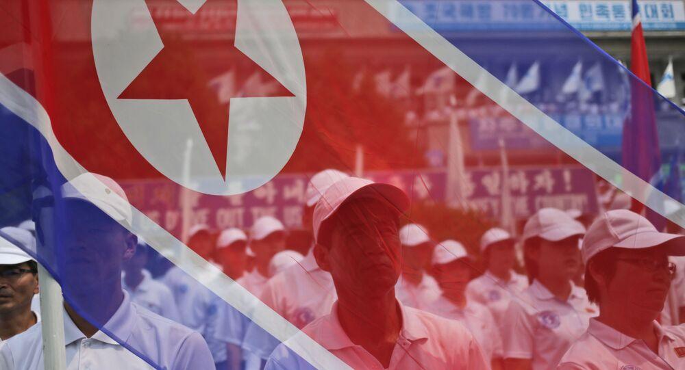 Účastníci pochodu nesou vlajku KLDR