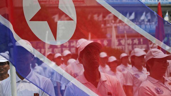 Účastníci pochodu nesou vlajku KLDR - Sputnik Česká republika