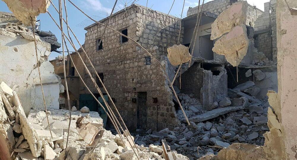 Zničené budovy v Aleppu