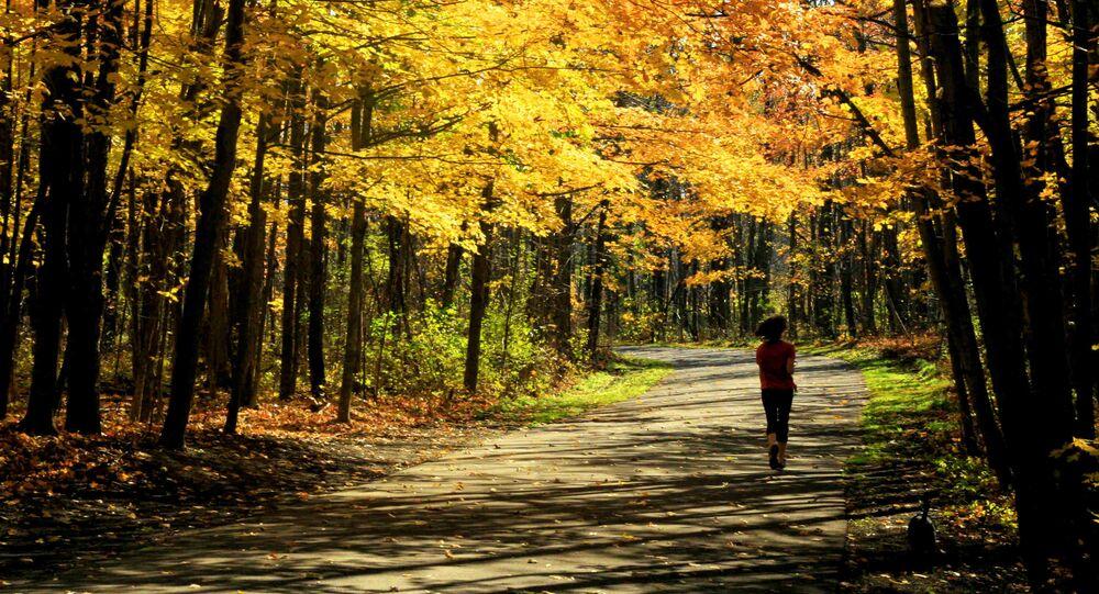 Žena běží lesem