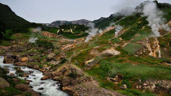 Údolí gejzírů na poloostrově Kamčatka v Kronocké státní biosférické rezervaci - Sputnik Česká republika