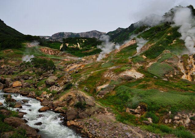 Údolí gejzírů na poloostrově Kamčatka v Kronocké státní biosférické rezervaci