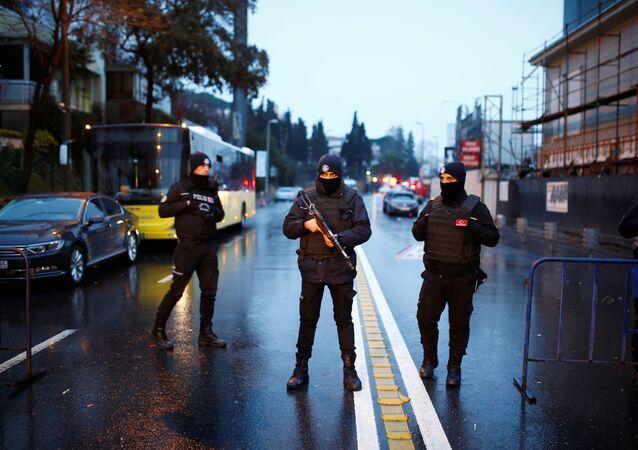 Police secure the area near an Istanbul nightclub, following a gun attack, in Turkey, January 1, 2017.