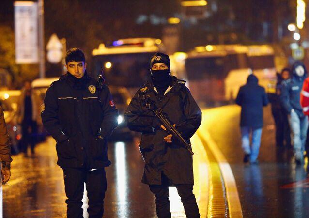 Police secure an area near an Istanbul nightclub, following a gun attack, Turkey, January 1, 2017