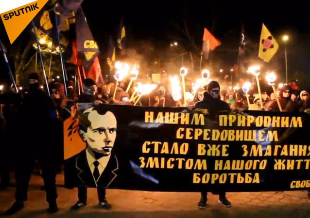 Průvod ukrajinských nacionalistů v Oděse