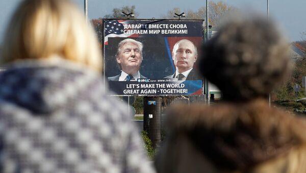 Plakát s Putinem a Trumpem v Černé hoře - Sputnik Česká republika