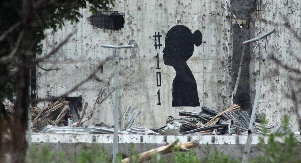 Graffiti v Doněcku symbolizující zahynuvší děti