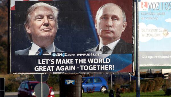 Plakat mit Trump und Putin, Montenegro - Sputnik Česká republika