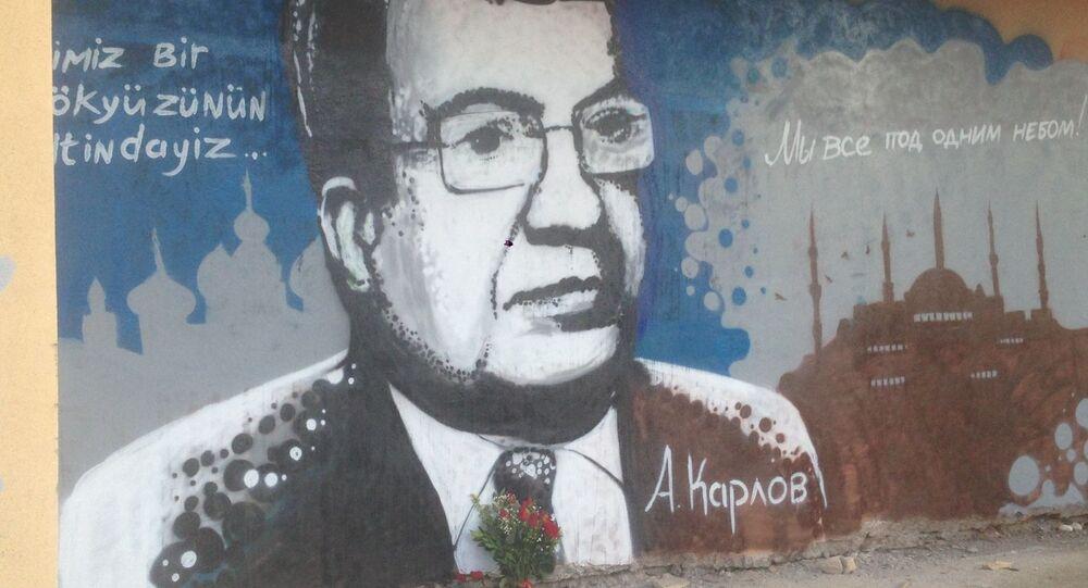 V Antalye namalovali graffity s portrétem v Turecku zabitého velvyslance Karlova