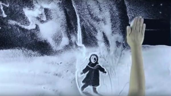 Krymská umělkyně vytvořila pomocí sněhu film k výročí prolomení blokády Leningradu - Sputnik Česká republika
