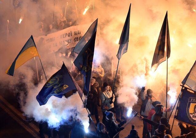 Pochodňový průvod na východě Ukrajina