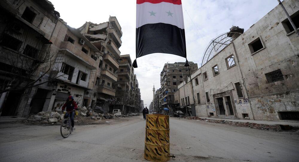 Syrská vlajka v Aleppu