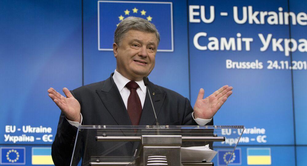 Ukrajinský prezident Petro Porošenko během summitu Ukrajina - EU v Brusselu