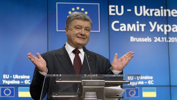 Ukrajinský prezident Petro Porošenko během summitu Ukrajina - EU v Brusselu - Sputnik Česká republika