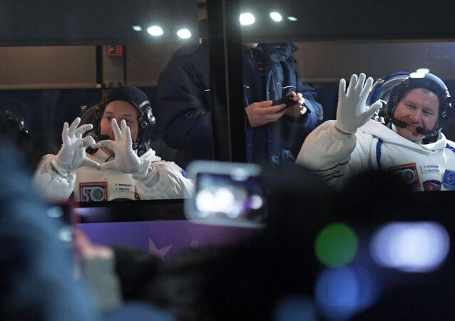 Kosmonauti Thomas Pesquet a Oleg Novickij