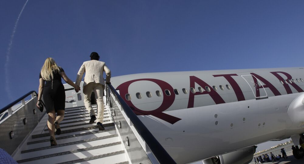 Eine Boeing 777-200LR der Fluggesellschaft Qatar Airways