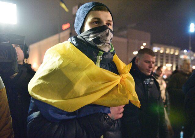 Účastnik třetího výročí majdanu v Kyjevě. Ilustrační foto