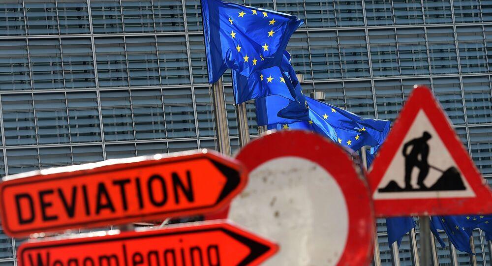 Vlajky EU v Bruselu