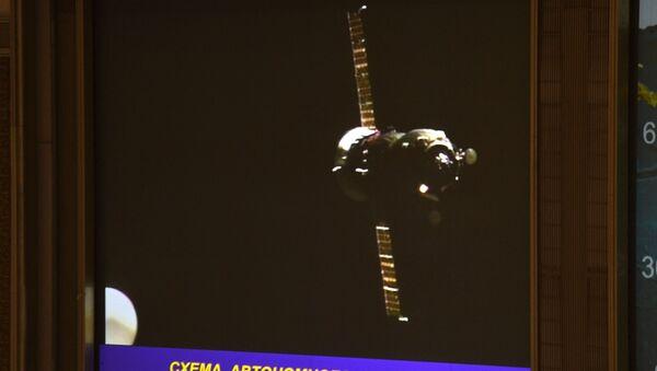 Spojení nákladní lodě Progress MS-05 s ISS. Archivní foto - Sputnik Česká republika