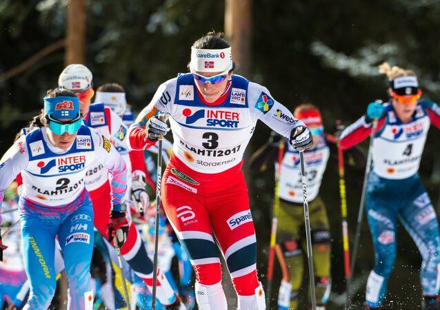 Šestinásobná olympijská vítězka v běžeckém lyžování Marit Bjørgenová během mistrovství světa v Norsku