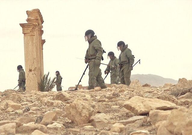 Ruští ženisté odminovávají Palmýru