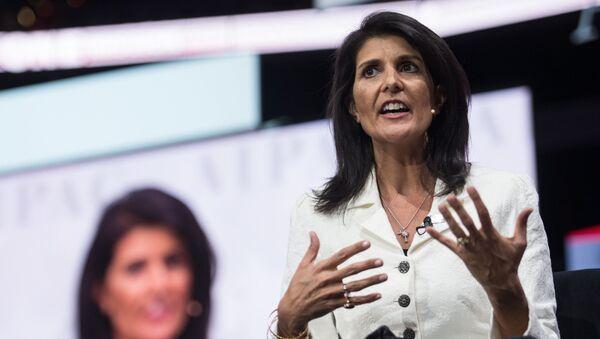 Stálá zástupkyně Spojených států při OSN Nikki Haleyová - Sputnik Česká republika