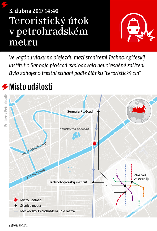 Teroristický útok v petrohradském metru - Sputnik Česká republika