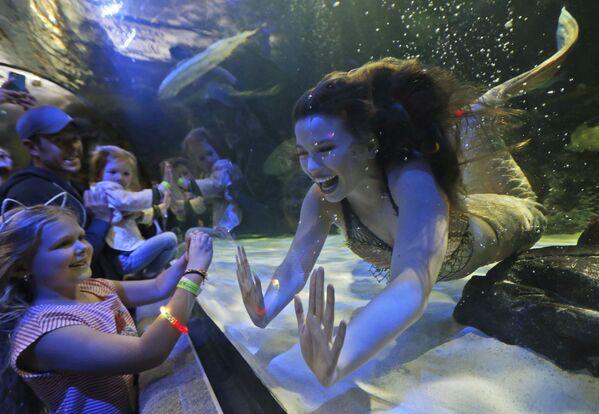 Dívky-rusalky během dětského představení v oceanáriu státu Virginie - Sputnik Česká republika