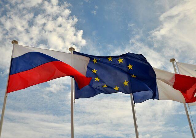 Vlajky Ruska EU a Francie