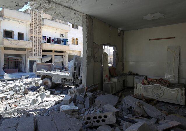 Idlib po bombardování