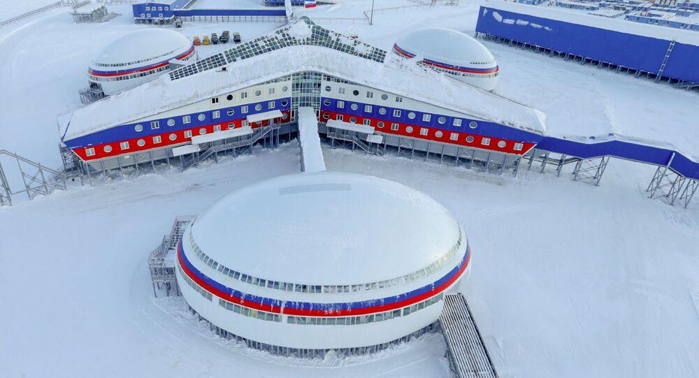 Ruská základna na ostrově Alexandřina země na souostroví Země Františka Josefa