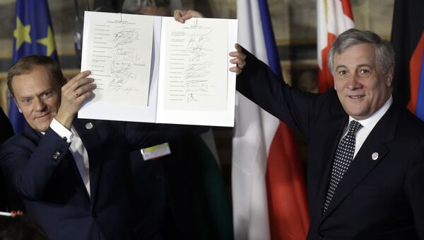 Předseda Evropské rady a Evropského parlamentu Antonio Tajani. Archivní foto - Sputnik Česká republika
