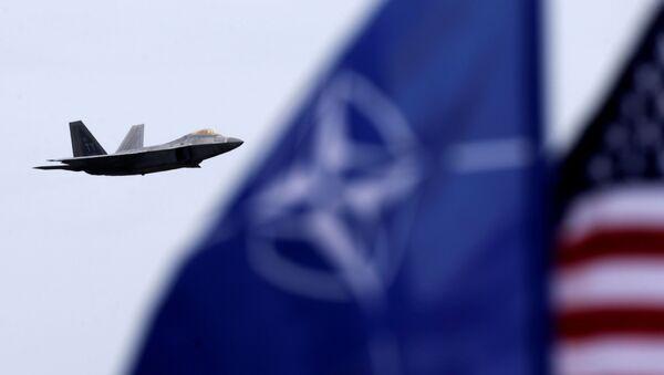 Stíhačka F-22 a vlajka NATO - Sputnik Česká republika