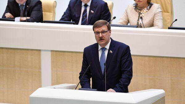 Předseda mezinárodního výboru Rady federace Konstantin Kosačov - Sputnik Česká republika