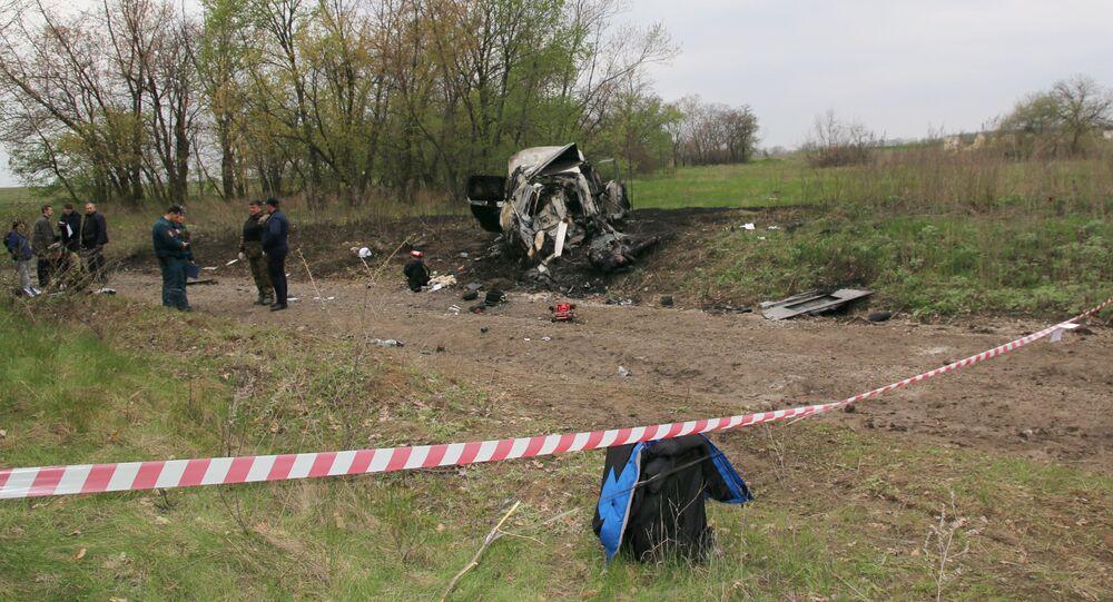Místo výbuchu automobilu OBSE na Ukrajině
