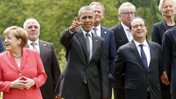 Angela Merkelová, Barack Obama a Francois Hollande - Sputnik Česká republika