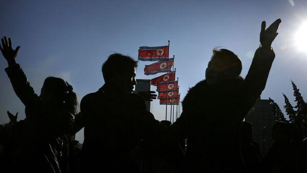 Vlajky KLDR v Pchjongjangu - Sputnik Česká republika