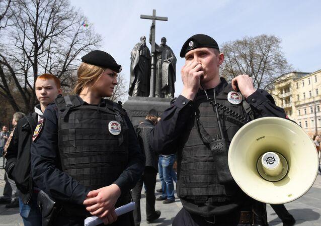 Policisté během akce Otevřené Rusko v Moskvě