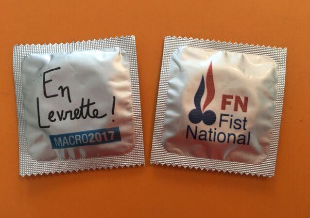 Prezervativy ve stylu předvolební kampaně francouzských prezidentských kandidátů