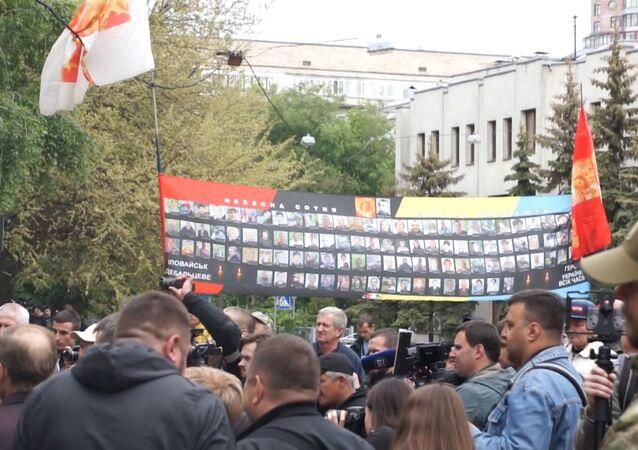 Protestní akce ukrajinských nacionalistů proti ministrovi vnitra