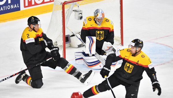Thomas Greiss a další členové německého hokejového týmu - Sputnik Česká republika