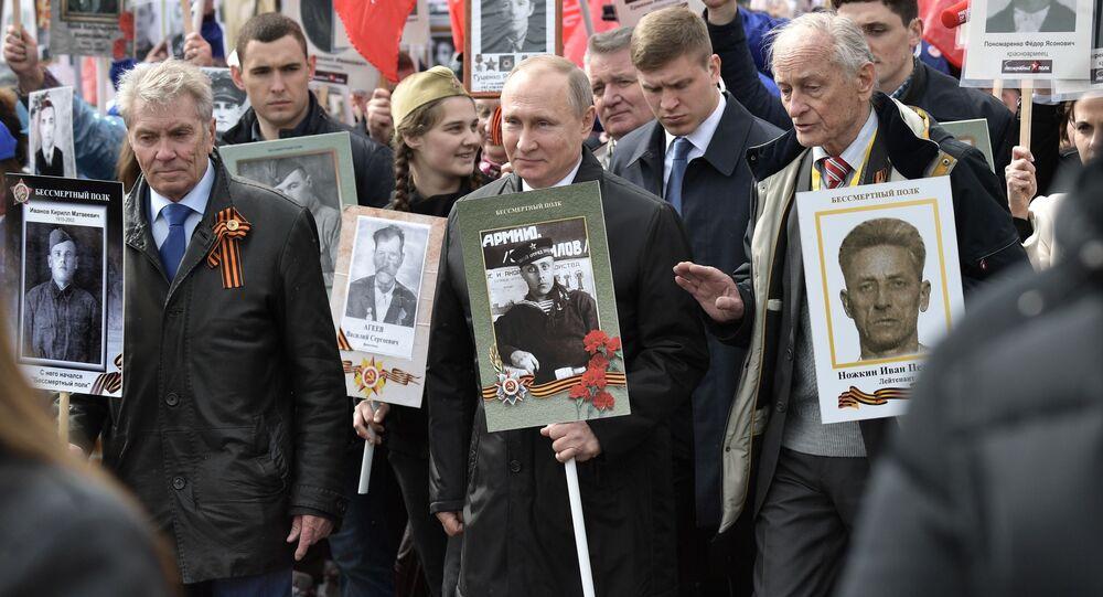 Prezident RF Vladimir Putin se účastní pochodu Nesmrtelný pluk