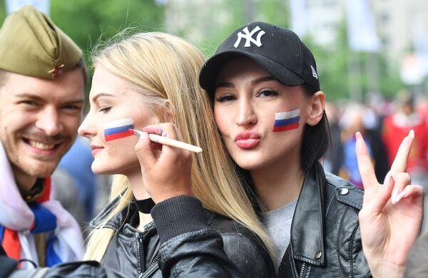 Ruští fanoušci před zahájením utkání MS v hokeji 2017 mezi italskou a ruskou reprezentací - Sputnik Česká republika