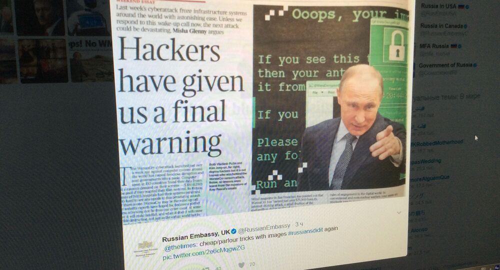 Screenshot z účtu velvyslanectví Ruska v Británii
